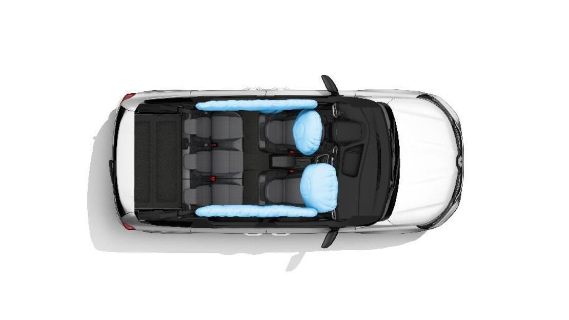 Airbag frontal avant conducteur et passager latéral à retenue programmée