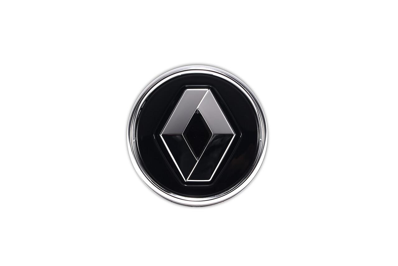 Cabochon Renault noir brillant cerclage chrome