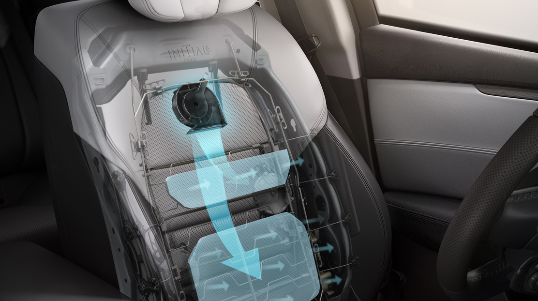 Sièges avant à réglages électriques 8 voies, massant, ventilés avec réglage de la longueur d'assise